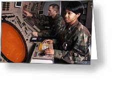 Control Technicians Use Radarscopes Greeting Card by Stocktrek Images