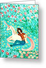 Conversation With A Unicorn Greeting Card by Sushila Burgess