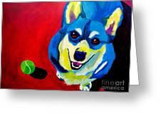 Corgi - Play Ball Greeting Card by Alicia VanNoy Call