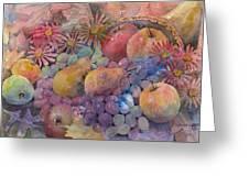 Cornucopia Of Fruit Greeting Card by Arline Wagner