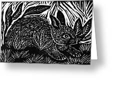 Cottontail block print Greeting Card by Ellen Miffitt