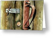 Country Door Lock Greeting Card by Sam Sidders