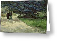 Couple In The Park Greeting Card by Vincent Van Gogh