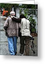 Couple Walking In Alley In Key West Greeting Card by Christopher Purcell