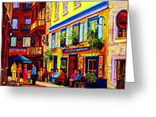 COURTYARD CAFES Greeting Card by CAROLE SPANDAU