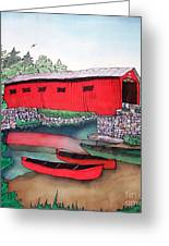 Covered Bridge And Canoes Greeting Card by Linda Marcille