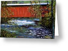 Covered Bridge And  Wissahickon Creek Greeting Card by Joyce A Guariglia