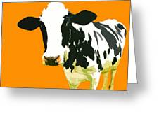 Cow In Orange World Greeting Card by Peter Oconor