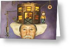 Cowboy Karl Greeting Card by Leah Saulnier The Painting Maniac