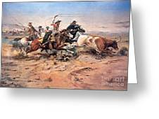 Cowboys Roping A Steer Greeting Card by Charles Marion Russell