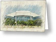 Cowboys Stadium Greeting Card by Ricky Barnard