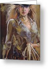 Cowgirl Greeting Card by Nelya Shenklyarska