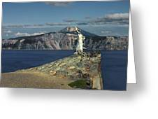 Crater Lake - A Most Sacred Place Among The Indians Of Southern Oregon Greeting Card by Christine Till