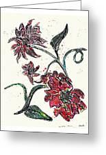Crayon Flowers Greeting Card by Sarah Loft