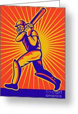Cricket Sports Batsman Batting Greeting Card by Aloysius Patrimonio