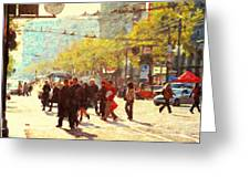Crossing San Francisco Market Street Greeting Card by Wingsdomain Art and Photography