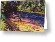 Crossing The Stream Greeting Card by Carolyn Doe