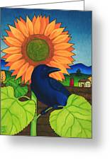 Crow In The Garden Greeting Card by Stacey Neumiller