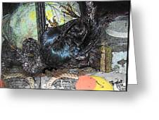 Crow Mid Flip Greeting Card by YoMamaBird Rhonda