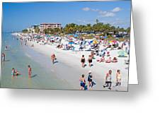 Crowd On A Summer Beach In Ft Meyers Florida Greeting Card by ELITE IMAGE photography By Chad McDermott
