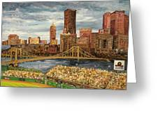 Crowded At Pnc Park Greeting Card by E E Scanlon