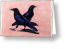Crows Greeting Card by Sandi Baker