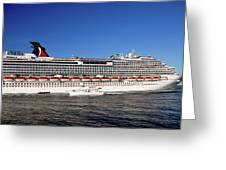 Cruise Ship Is Leaving The Port Greeting Card by Susanne Van Hulst