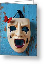Crying Mask And Red Butterfly Greeting Card by Garry Gay