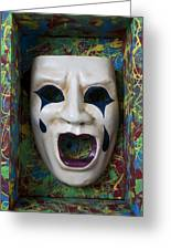Crying Mask In Box Greeting Card by Garry Gay