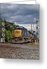 Csx Train Headed West Greeting Card by Pamela Baker