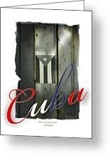 Cuban Flag On Door Greeting Card by Bob Salo