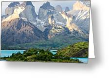 Cuernos Del Paine - Patagonia Greeting Card by Carl Amoth