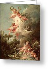 Cupids Target Greeting Card by Francois Boucher