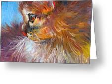 Curious Tubby Kitten painting Greeting Card by Svetlana Novikova