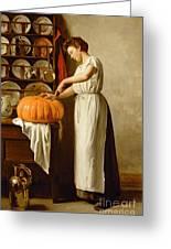 Cutting The Pumpkin Greeting Card by Franck-Antoine Bail