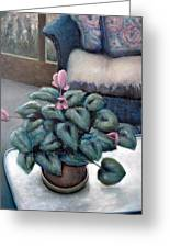 Cyclamen And Wicker Greeting Card by Michelle Calkins