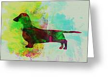 Dachshund Watercolor Greeting Card by Naxart Studio