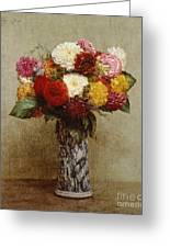 Dahlias In A Chinese Vase Greeting Card by Ignace Henri Jean Fantin-Latour