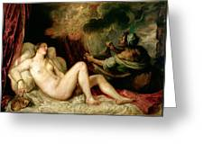 Danae Receiving The Shower Of Gold Greeting Card by Titian