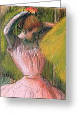 Dancer Arranging Her Hair Greeting Card by Edgar Degas