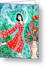 Dancer In Red Sari Greeting Card by Sushila Burgess