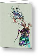 Dancer Watercolor Splash Greeting Card by Naxart Studio