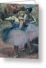 Dancers In Violet Greeting Card by Edgar Degas