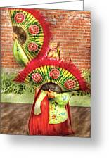 Dancing - The Fan Dance Greeting Card by Mike Savad