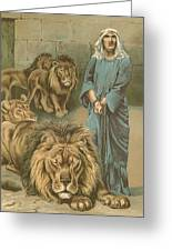 Daniel In The Lions Den Greeting Card by John Lawson