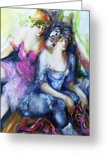 Danseuse With Mentor Greeting Card by Claire Sallenger Martin
