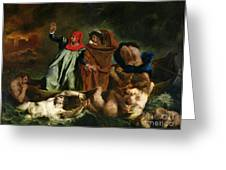 Dante and Virgil in the Underworld Greeting Card by Ferdinand Victor Eugene Delacroix