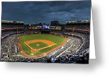 Dark Clouds Over Yankee Stadium  Greeting Card by Shawn Everhart