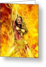 Dark Phoenix Greeting Card by Pete Tapang