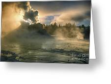 Dawn On Castle Geyser Greeting Card by Sandra Bronstein